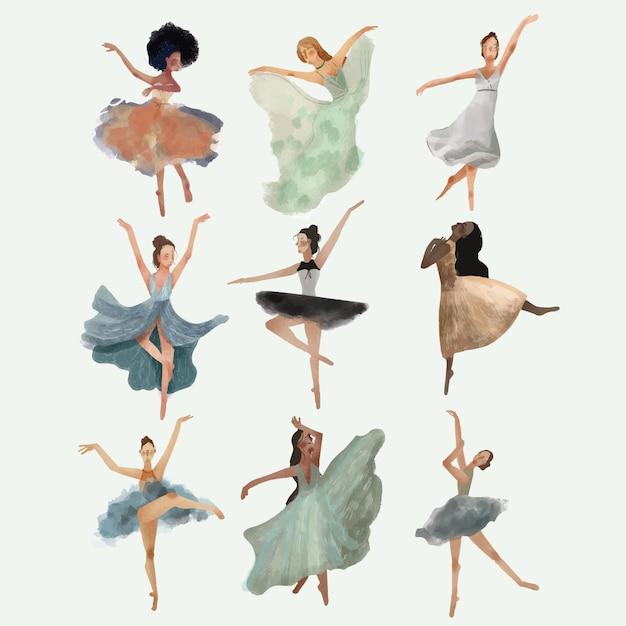 Conjunto de bailarinos - mão desenhada Vetor Premium