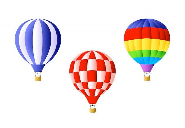 Conjunto de balão de ar quente Vetor grátis