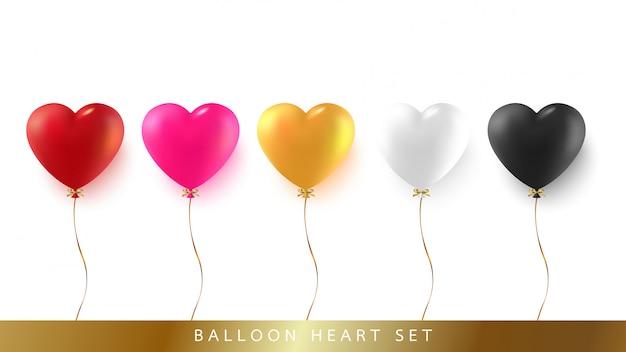 Conjunto de balão de coração com fita e arco Vetor Premium