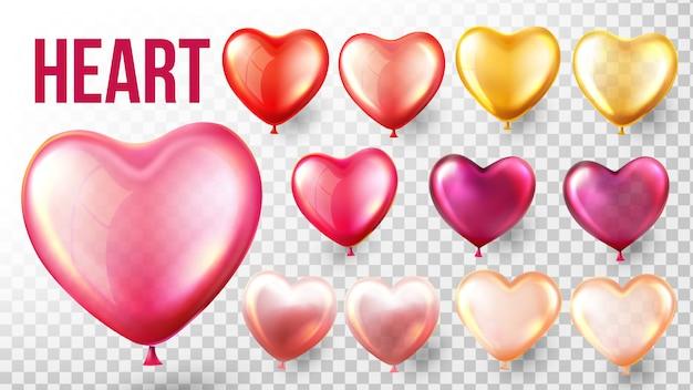 Conjunto de balão de coração Vetor Premium