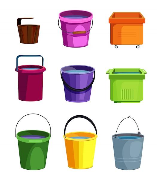 Conjunto de baldes coloridos Vetor grátis