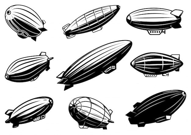 Conjunto de balões de ar, zepelim. elemento para cartaz, cartão, emblema, sinal, banner. imagem Vetor Premium