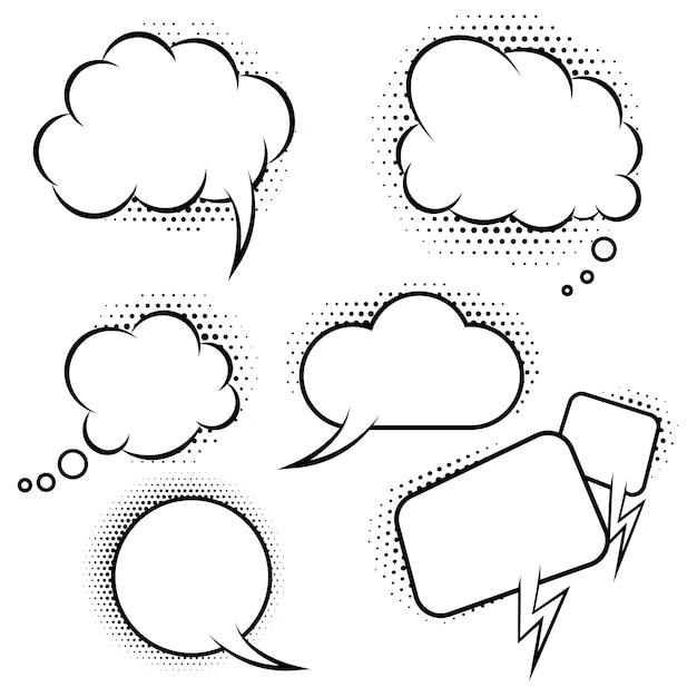 Conjunto de balões de fala em estilo cômico. elementos para cartaz, banner, cartão. ilustração Vetor Premium