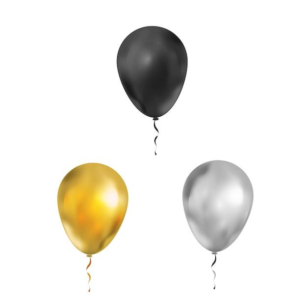 Conjunto de balões de luxo brilhante nas cores pretos, dourados e prateados em branco Vetor Premium