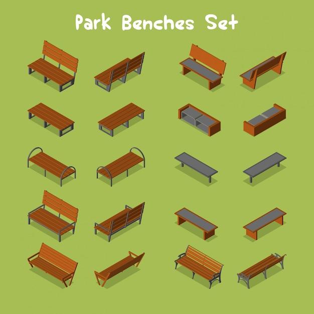 Conjunto de bancos de parque Vetor Premium