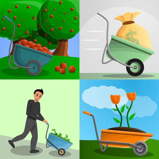 Conjunto de bandeira de carrinho de mão de jardim, estilo cartoon Vetor Premium