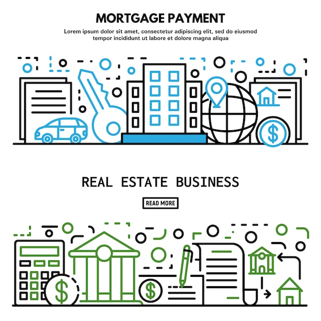 Conjunto de bandeira de casa de hipoteca, estilo de estrutura de tópicos Vetor Premium