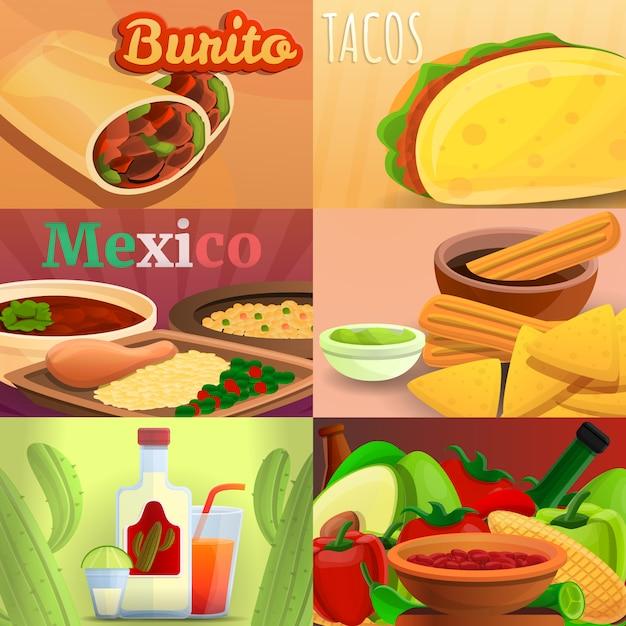Conjunto de bandeira de comida mexicana, estilo cartoon Vetor Premium