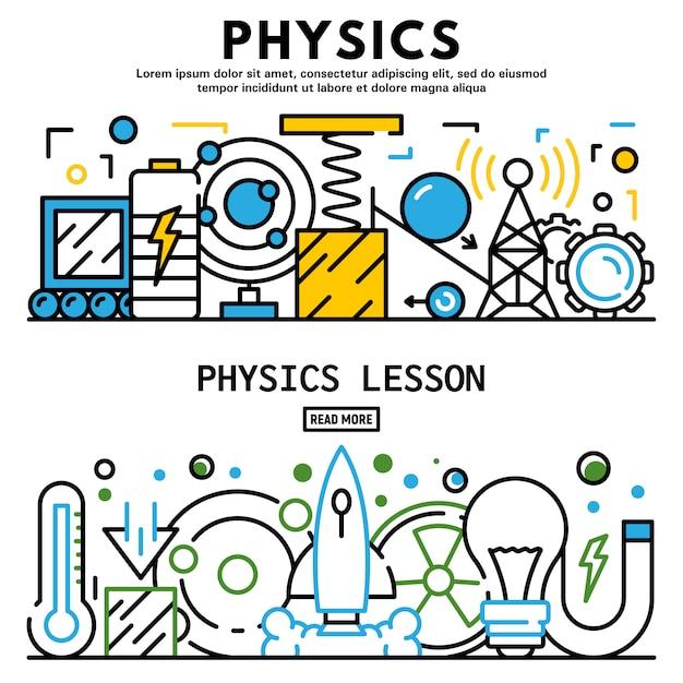 Conjunto de bandeira de lição de física, estilo de estrutura de tópicos Vetor Premium