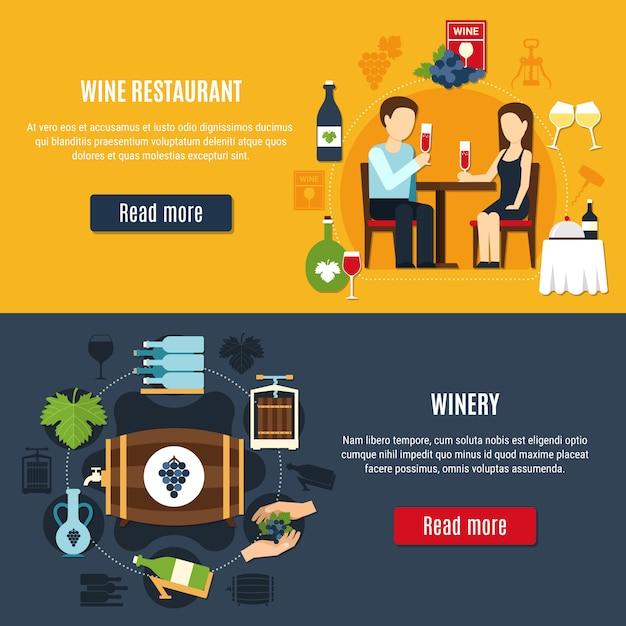 Conjunto de bandeira de vinho Vetor grátis