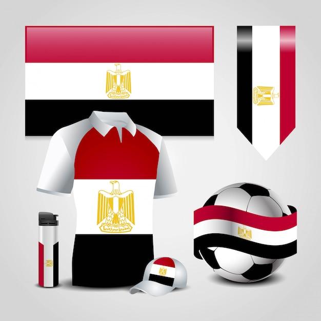Conjunto de bandeira do país de egipto Vetor Premium