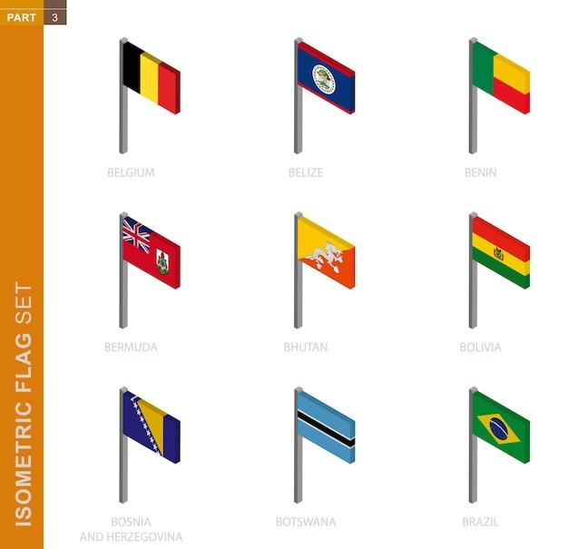 Conjunto de bandeira isométrica, mastro na vista isométrica. Vetor Premium