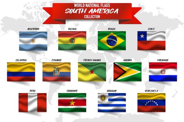 Conjunto de bandeira nacional do país da américa do sul em fundo de mapa do mundo. Vetor Premium