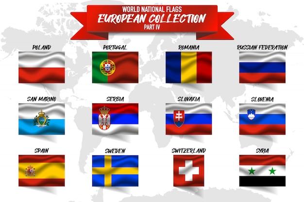 Conjunto de bandeira nacional do país europeu sobre fundo de mapa do mundo. Vetor Premium