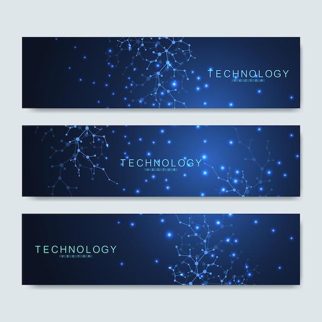 Conjunto de bandeiras científicas modernas. estrutura da molécula de fundo abstrato virtual futurista moderno para medicina, tecnologia, química, ciência. padrão de rede científica, conectando linhas e pontos. Vetor Premium