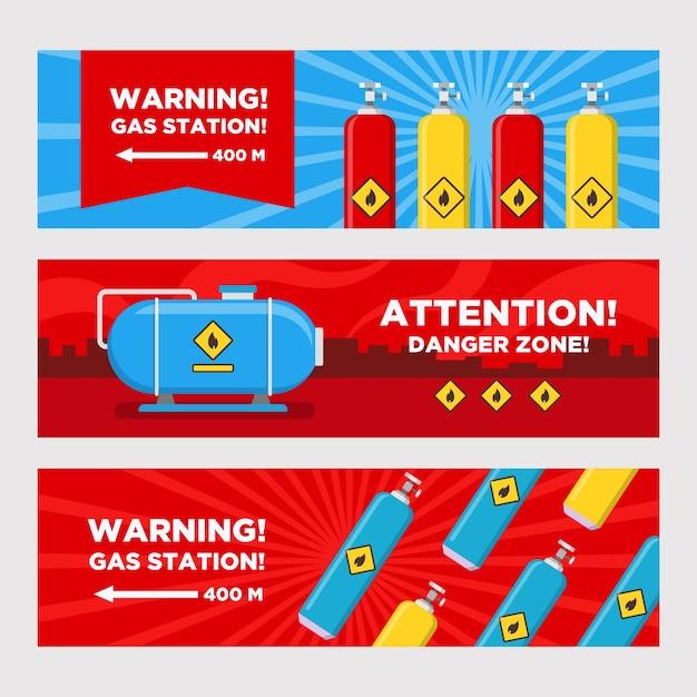 Conjunto de bandeiras de aviso de posto de gasolina. tanques e cilindros, ilustrações vetoriais de seta de destino com zona de perigo. modelos para sinais e sinalizações de postos de combustível Vetor grátis