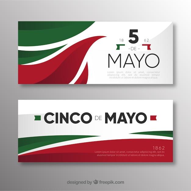 Conjunto de bandeiras de cinco de maio com elementos mexicanos tradicionais Vetor grátis
