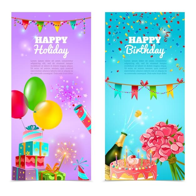 Conjunto de bandeiras de comemoração de feliz aniversário feriado Vetor grátis