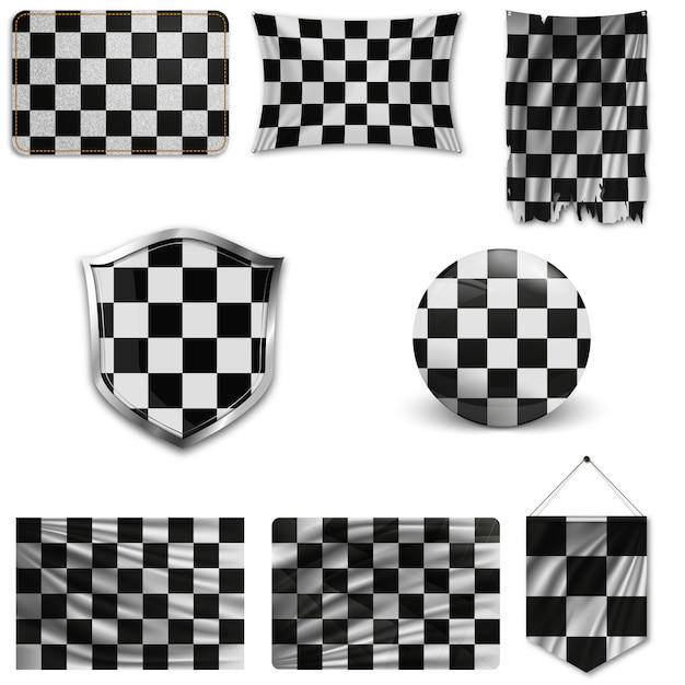 Conjunto de bandeiras de corrida Vetor Premium