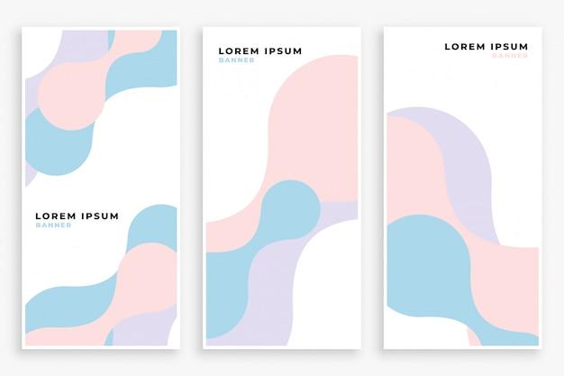 Conjunto de bandeiras de curva de cor pastel suave Vetor grátis