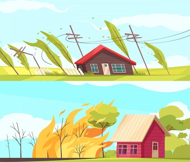 Conjunto de bandeiras de desastres naturais com casas vivas Vetor grátis