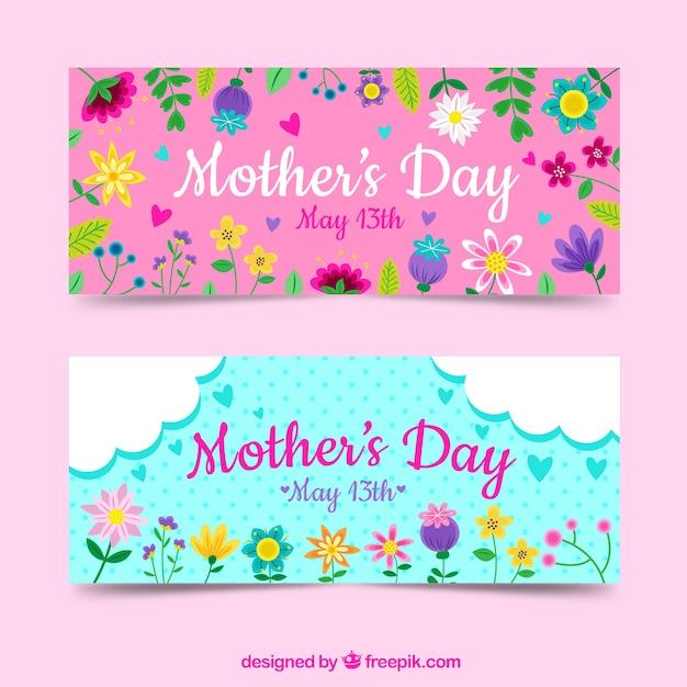 Conjunto de bandeiras de dia das mães com flores coloridas Vetor grátis