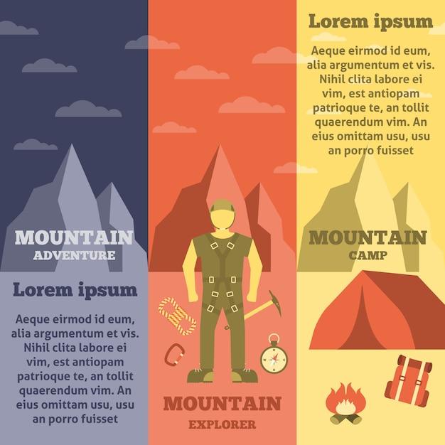 Conjunto de bandeiras de equipamento montanhista de montanha Vetor grátis
