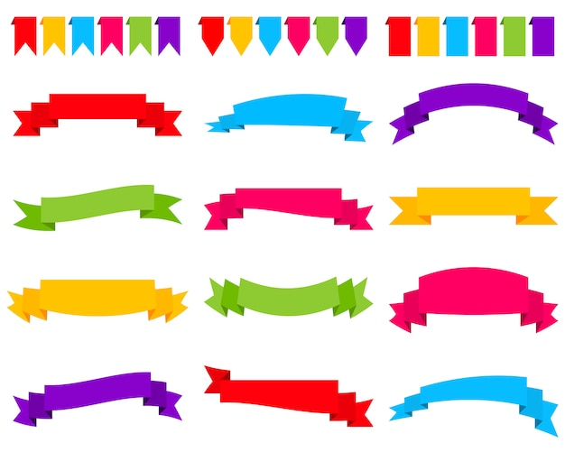 Conjunto de bandeiras de fita colorida Vetor Premium
