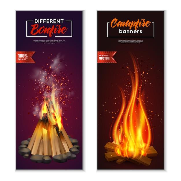 Conjunto de bandeiras de fogueira Vetor grátis
