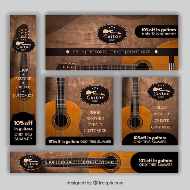 Conjunto de bandeiras de guitarra Vetor grátis