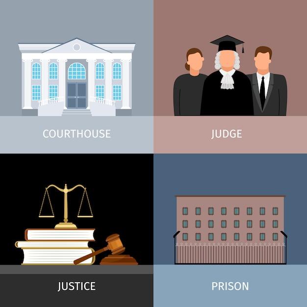 Conjunto de bandeiras de justiça Vetor Premium