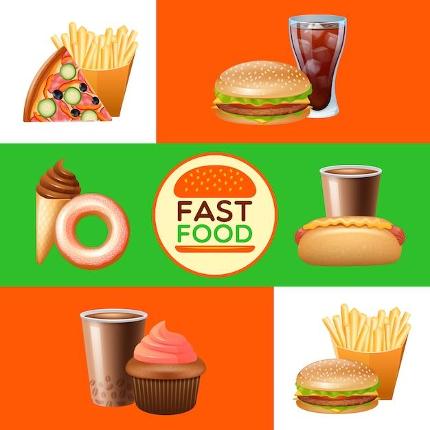 Conjunto de bandeiras de menu de restaurante fast food Vetor grátis