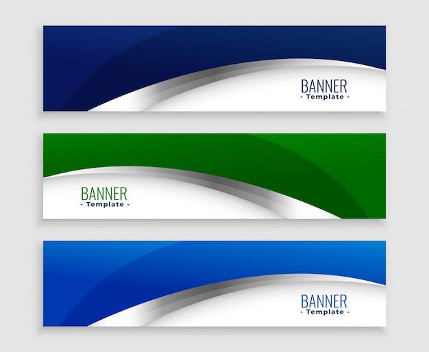 Conjunto de bandeiras de negócios de onda azul e verde Vetor grátis