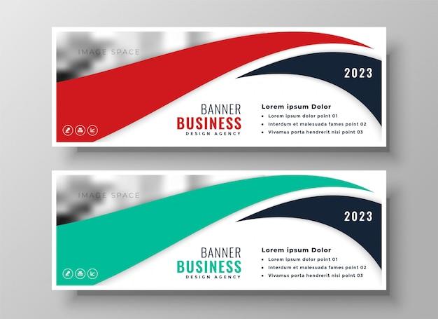 Conjunto de bandeiras de negócios moderno de vermelho e turquesa Vetor grátis