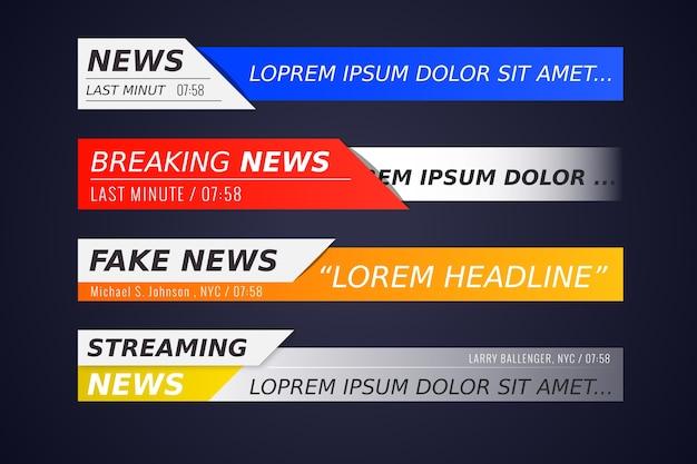 Conjunto de bandeiras de notícias de última hora Vetor Premium