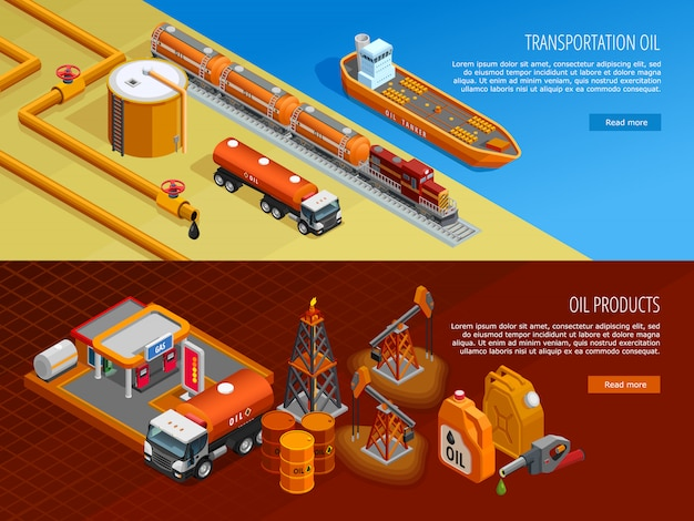Conjunto de bandeiras de página da web isométrica de indústria de petróleo Vetor grátis