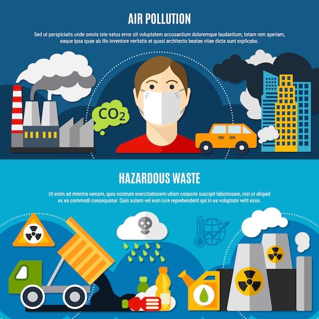 Conjunto de bandeiras de problema de poluição Vetor grátis