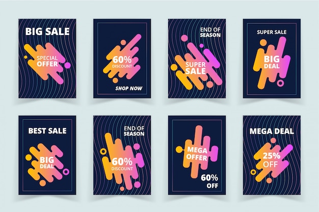 Conjunto de bandeiras de promoção de vendas Vetor Premium