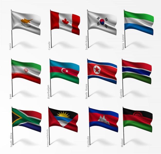 Conjunto de bandeiras de todos os países na ilustração Vetor Premium