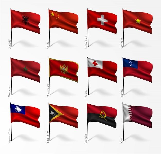 Conjunto de bandeiras de todos os países Vetor Premium