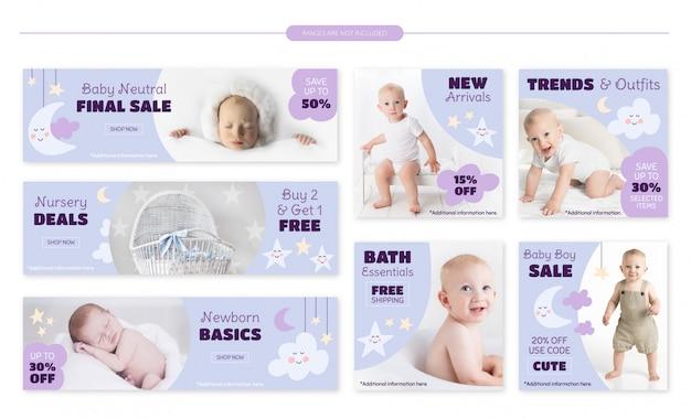 Conjunto de bandeiras de venda de loja de bebê Vetor Premium