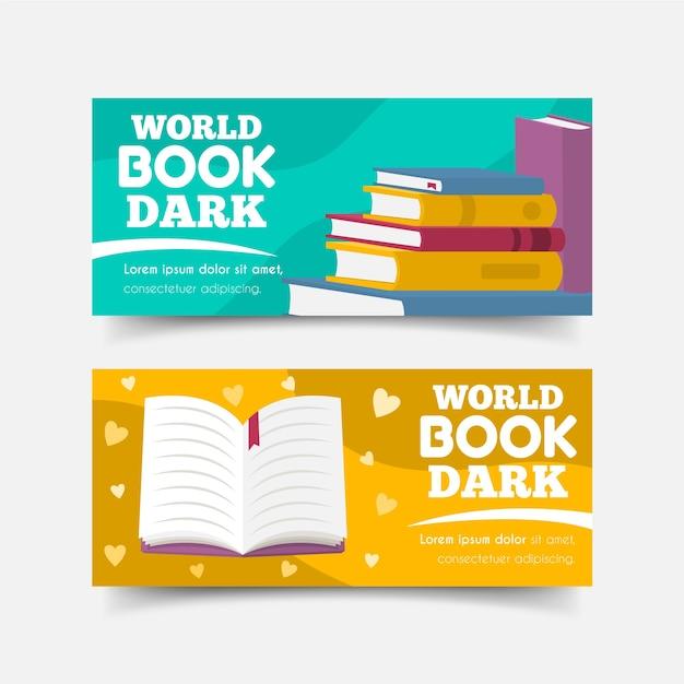Conjunto de bandeiras do mundo livro dia Vetor grátis