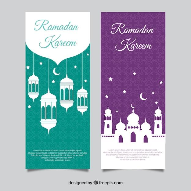 Conjunto de bandeiras do ramadã com mesquitas e lâmpadas em estilo simples Vetor grátis