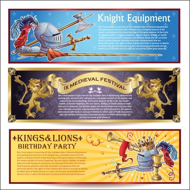 Conjunto de bandeiras horizontais de cavaleiro Vetor grátis