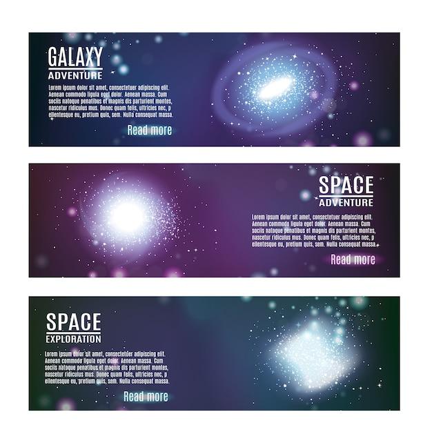 Conjunto de bandeiras horizontais de espaço Vetor grátis