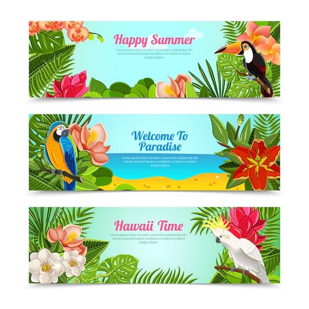 Conjunto de bandeiras horizontais de flores ilha tropical Vetor grátis