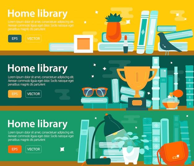 Conjunto de bandeiras horizontais de interesse de livro de leitura, biblioteca. Vetor Premium