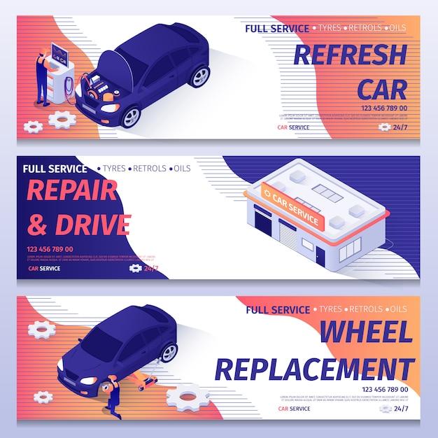 Conjunto de bandeiras isométricas para serviço de reparação de automóveis Vetor Premium
