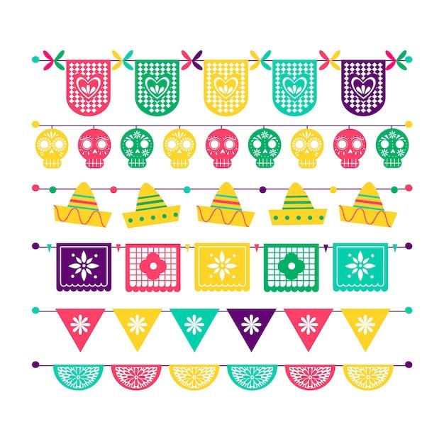 Conjunto de bandeiras mexicanas coloridas Vetor grátis