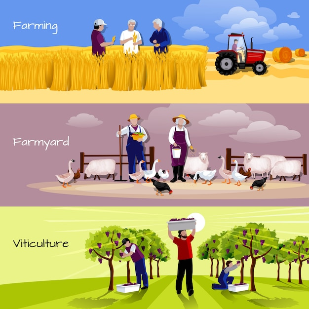 Conjunto de bandeiras plana e horizontal de pessoas agrícolas 3 Vetor grátis